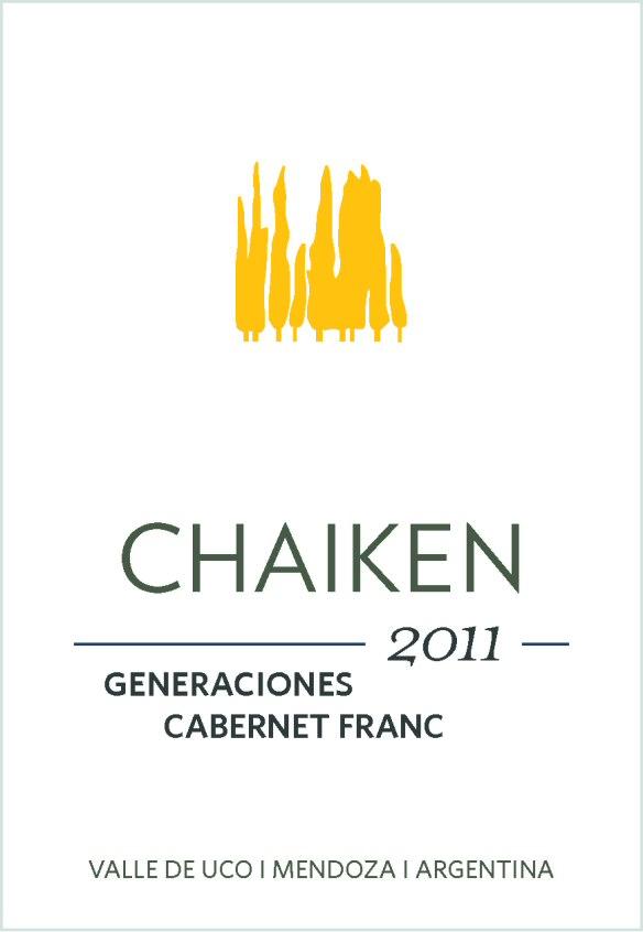 Chaiken Vineyards Generaciones Cabernet Franc 2011 label